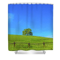 Lone Tree On A Hill Digital Art Shower Curtain