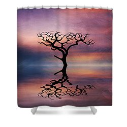 Shower Curtain featuring the digital art Lone Tree Sunrise by Ian Mitchell