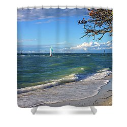 Lone Windsurfer At Wiggins Pass Shower Curtain