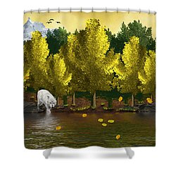 Lone Wolf At The River Shower Curtain