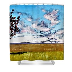 Lonely Autumn Tree Shower Curtain