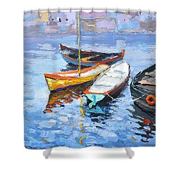 Lonely Boats  Shower Curtain by Dmitry Spiros