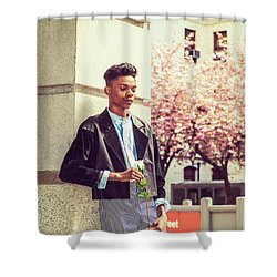 Lonely Boy With White Rose 15042643 Shower Curtain