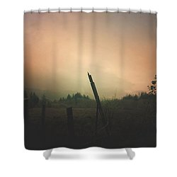 Shower Curtain featuring the digital art Lonely Fence Post  by Chriss Pagani