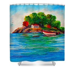 Lonely Island In Greece Shower Curtain