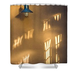 Lonely Lamp Among Sunrise Window Light Reflections Shower Curtain by Gary Slawsky