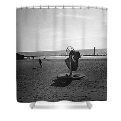 Lonely Man In Ostia Beach Shower Curtain