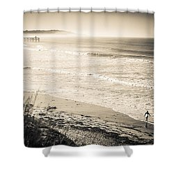Shower Curtain featuring the photograph Lonely Pb Surf by T Brian Jones