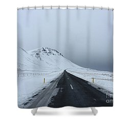 Lonely Road On Snaefellsnes Peninsula Shower Curtain