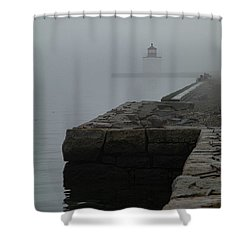 Shower Curtain featuring the photograph Lonely Salem Lighthouse In Fog by Jeff Folger