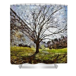 Shower Curtain featuring the painting Lonely Tree by Derek Gedney