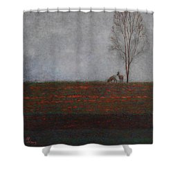 Lonely Tree With Two Roes Shower Curtain