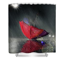 Shower Curtain featuring the digital art Lonely Umbrella by Darren Cannell
