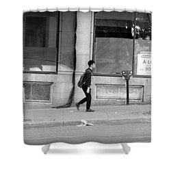 Shower Curtain featuring the photograph Lonely Urban Walk by Valentino Visentini