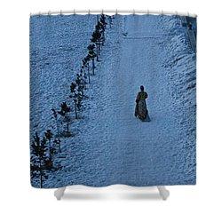 Lonely Walk/tsagaan Sar Shower Curtain by Diane Height