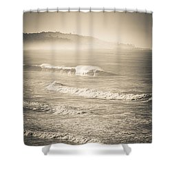Shower Curtain featuring the photograph Lonely Winter Waves by T Brian Jones