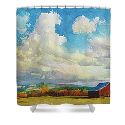 Shower Curtain featuring the painting Lonesome Barn by Steve Henderson