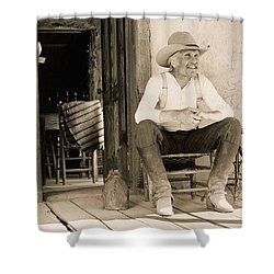 Lonesome Dove Gus On Porch  Shower Curtain