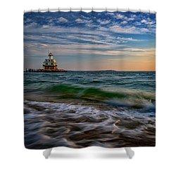 Long Beach Bar Lighthouse Shower Curtain by Rick Berk