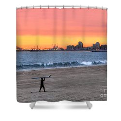 Long Beach From Huntington Beac Shower Curtain