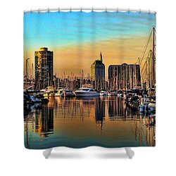 Shower Curtain featuring the photograph Long Beach Harbor by Mariola Bitner
