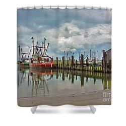 Long Beach Island Docks Shower Curtain