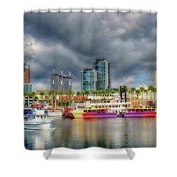 Long Beach Shoreline Marina Shower Curtain by Joseph Hollingsworth