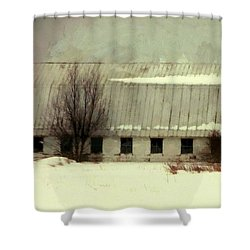 Shower Curtain featuring the photograph Long Cold Winter - Winter Barn by Janine Riley