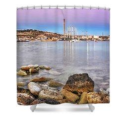 Long Exposure Sunset In Marsaxlokk Shower Curtain by Stephan Grixti
