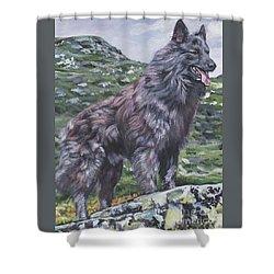 Shower Curtain featuring the painting Long Hair Dutch Shepherd by Lee Ann Shepard