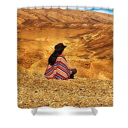 Long Haired Man In Poncho Shower Curtain
