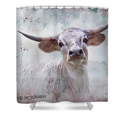 Long Horn Shower Curtain by Kathy Russell