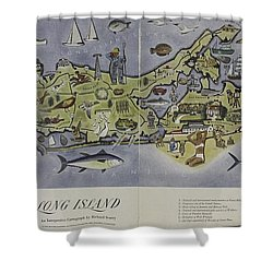 Long Island An Interpretive Cartograph Shower Curtain