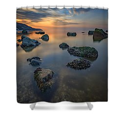 Long Island Sound Tranquility Shower Curtain by Rick Berk