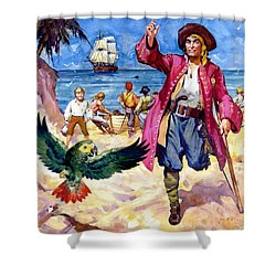Long John Silver And His Parrot Shower Curtain by James McConnell