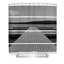Long Lake Dock Shower Curtain