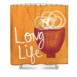 Long Life Noodle Bowl Shower Curtain by Linda Woods