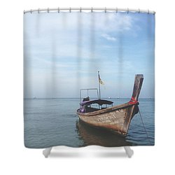 Shower Curtain featuring the photograph Long Tail Boat Stillness by Ivy Ho