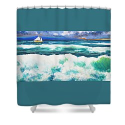 Long Thin Wave Shower Curtain by Anne Marie Brown