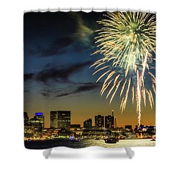 Long Warf Fireworks 1 Shower Curtain by Mike Ste Marie