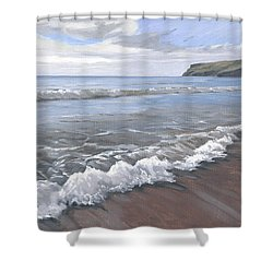 Long Waves At Trebarwith Shower Curtain