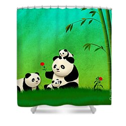Longevity Panda Family Asian Art Shower Curtain by John Wills