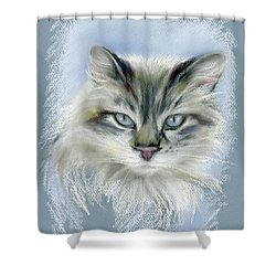 Shower Curtain featuring the pastel Longhaired Cat With Blue Eyes by MM Anderson