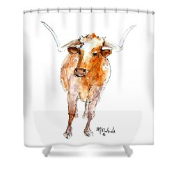 Longhorn 1 Watercolor Painting By Kmcelwaine Shower Curtain by Kathleen McElwaine