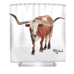 Longhorn 17 Big Daddy Watercolor Painting By Kmcelwaine Shower Curtain by Kathleen McElwaine