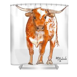 Texas Red Longhorn Watercolor Painting By Kmcelwaine Shower Curtain