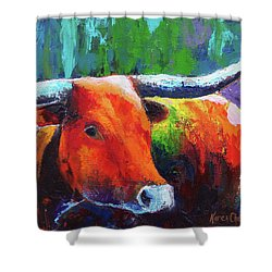 Shower Curtain featuring the painting Longhorn Jewel by Karen Kennedy Chatham