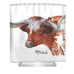 Longhorn Portrait Lh006 Watercolor Painting By Kmcelwaine Shower Curtain by Kathleen McElwaine