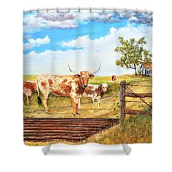 Longhorn Stand Off Your Place Or Mine Shower Curtain