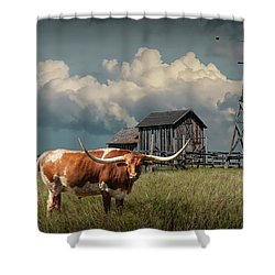 Longhorn Steer In A Prairie Pasture By Windmill And Old Gray Wooden Barn Shower Curtain by Randall Nyhof